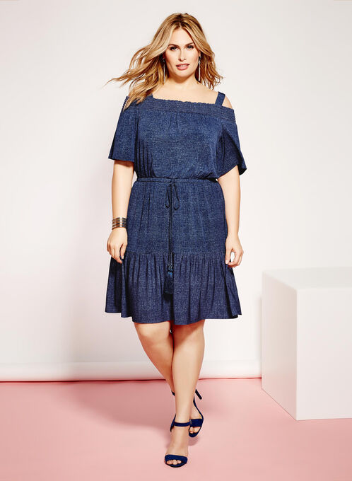 Tiered Off The Shoulder Dress, Blue, hi-res