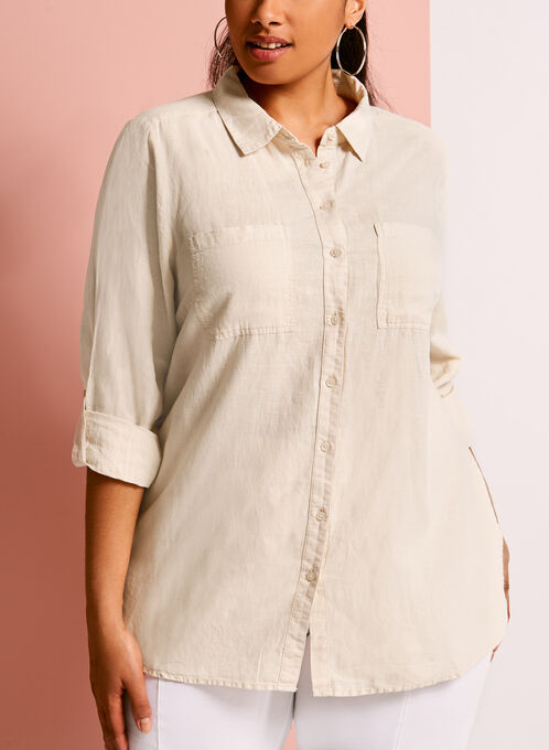 Short Sleeve Linen Button Down Shirt, Off White, hi-res
