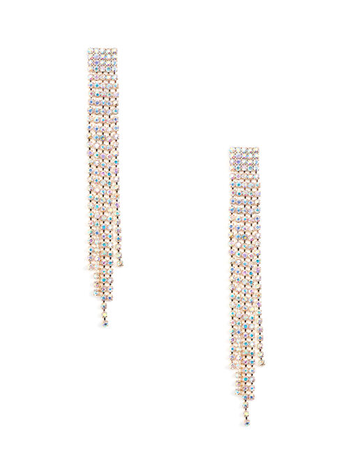 Elongated Crystal Earrings, Multi, hi-res