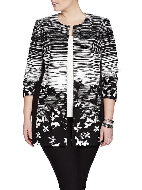 Two-Tone Printed Long Jacket, Black, hi-res
