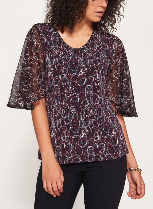 3/4 Drape Sleeve Blouse, Black, hi-res