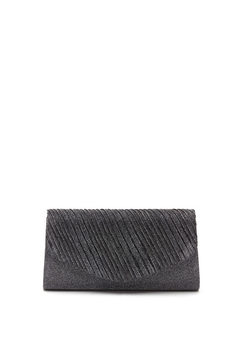 Pleated Metallic Clutch, Grey, hi-res