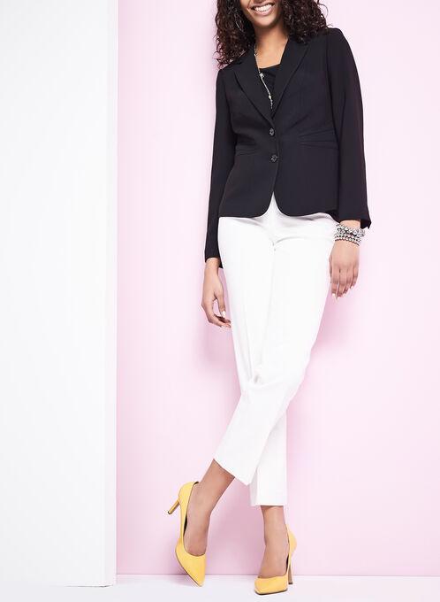 Notch Collar Pintuck Blazer, Black, hi-res