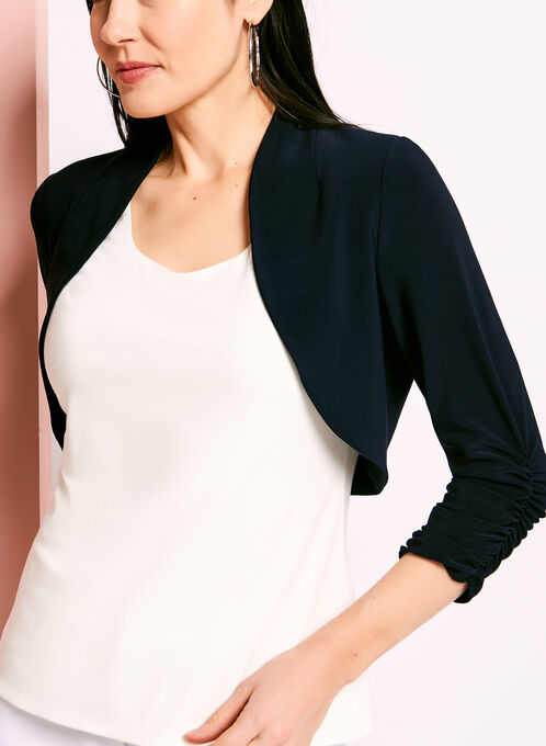 3/4 Sleeve Shirred Bolero, Blue, hi-res