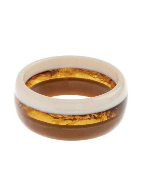 Bracelet rigide en lucite tricolore, Blanc cassé, hi-res