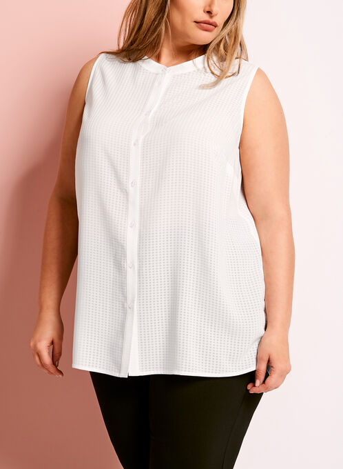 Gingham Print Button Down Blouse, Off White, hi-res