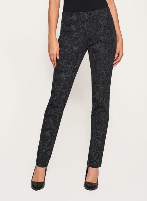 Floral Print Pull-On Pants, Grey, hi-res