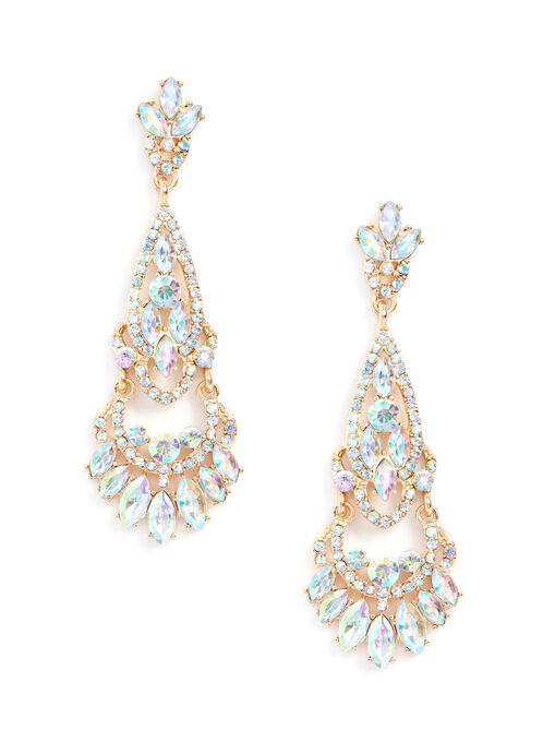 Jewelled Chandelier Earrings , Yellow, hi-res