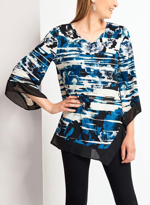 Floral Print Bell Sleeve Asymmetric Tunic , Blue, hi-res