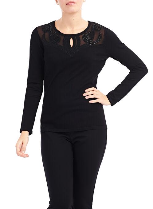 Rhinestone Appliqué Keyhole Sweater , Black, hi-res
