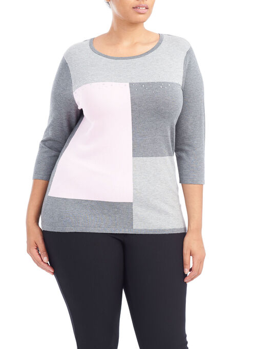 3/4 Sleeve Colour Block Sweater , Grey, hi-res