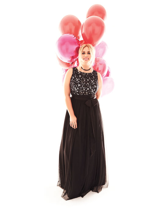 Lace & Tulle Ball Gown , Black, hi-res