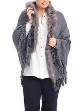 Faux Fur Oblong Ruana Cape, Grey, hi-res