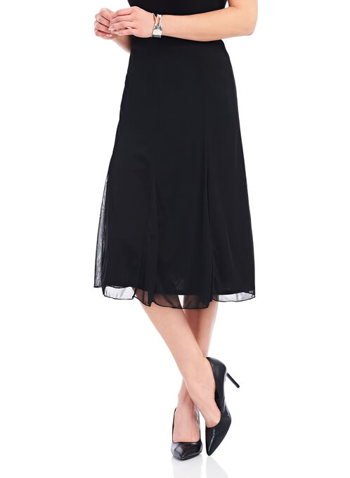Mesh Overlay Flared Skirt, Black, hi-res