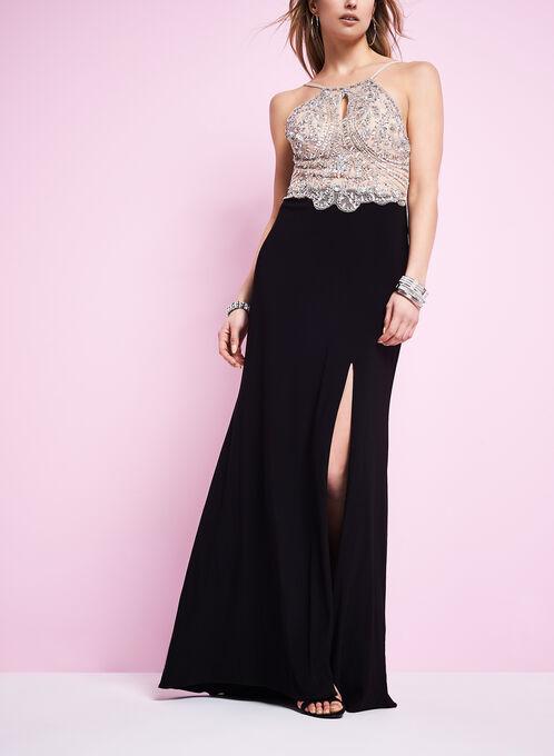 Sequin Halter Neck Gown , Black, hi-res