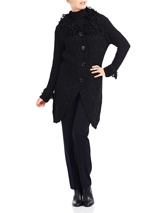 Bouclé Knit Cardigan, Black, hi-res