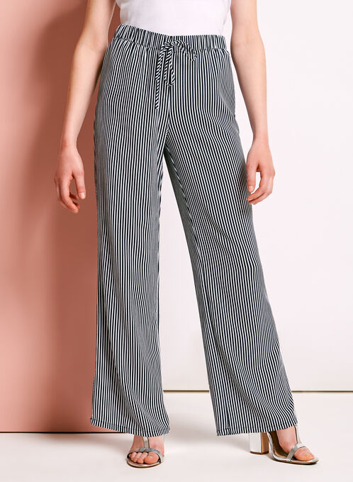 Wide Leg Stripe Print Pants, Blue, hi-res