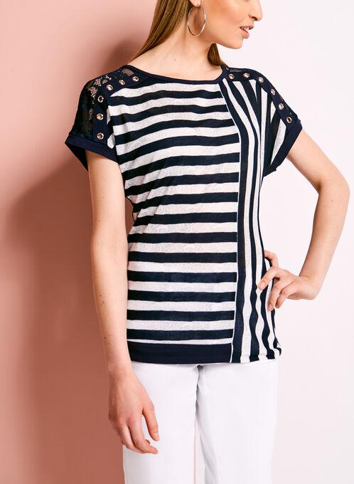 Stripe Print Lace Trim Top, Blue, hi-res