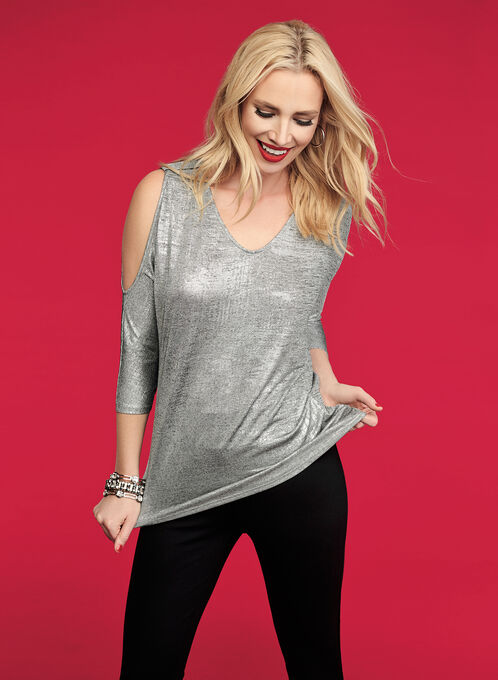 Cold Shoulder Foil Knit Top, Grey, hi-res