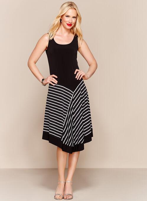 Stripe Print Handkerchief Maxi Dress, Black, hi-res