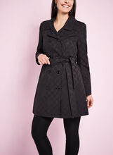 Novelti Jacquard Trench Coat, Black, hi-res