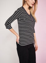 3/4 Sleeve Stripe Print Top, Black, hi-res