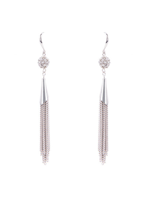 Crystal Chain Tassel Earrings , Silver, hi-res
