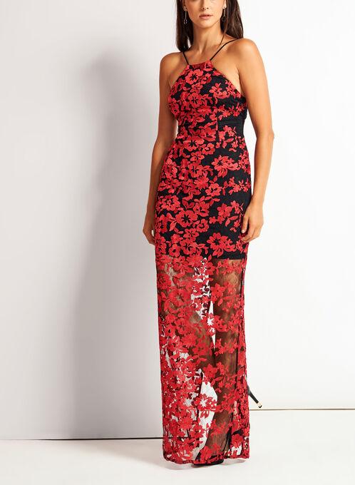 Robe longue à broderies florales ajourée au dos, Rouge, hi-res