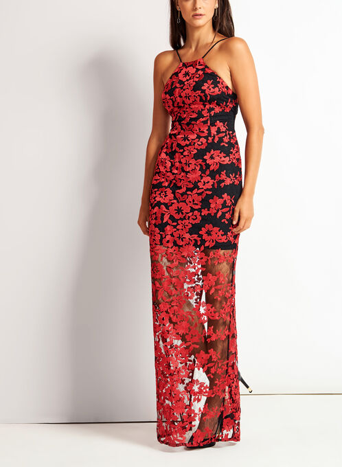 Open Back Floral Lace Dress, Red, hi-res