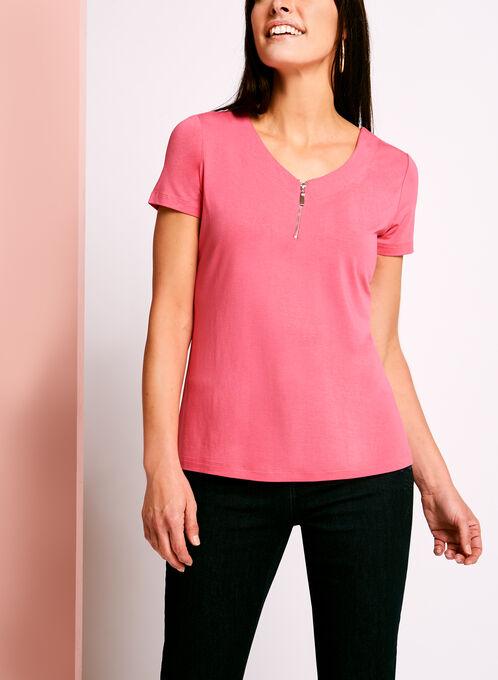 T-shirt avec col V zippé et dos ajouré, Rose, hi-res