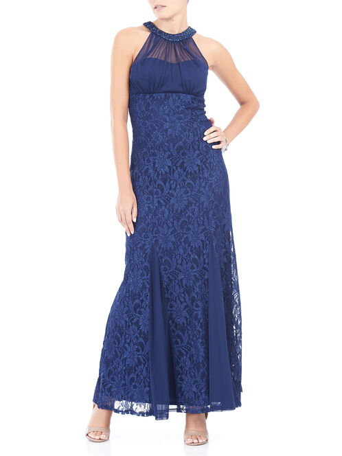 Sleeveless Beaded Cleo Neck Gown, Blue, hi-res