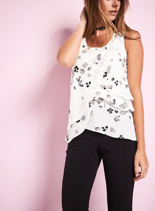 Sleeveless Floral Print Blouse , White, hi-res