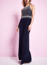 Beaded Mesh Racer Back Gown , Blue, hi-res