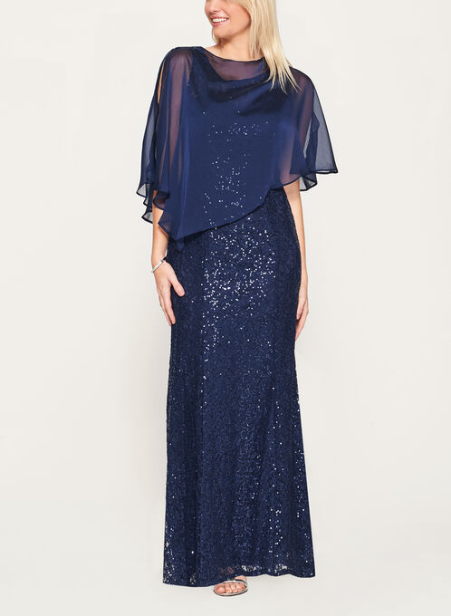 Sequin Lace Mermaid Dress with Poncho, Blue, hi-res