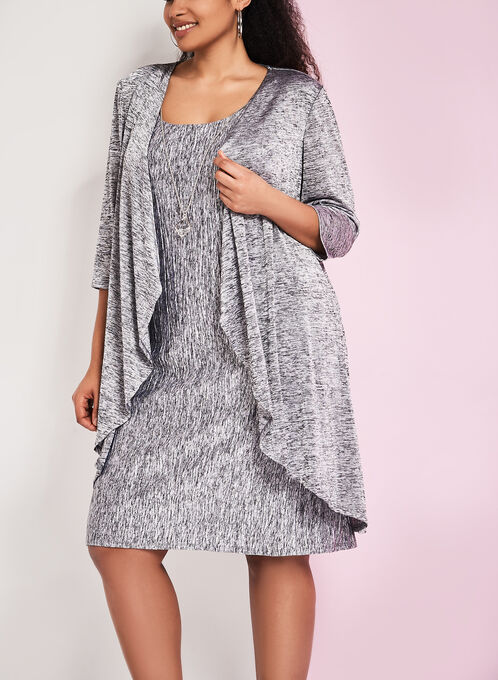 Tank Dress with Matching Cardigan, Grey, hi-res