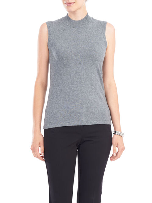 Sleeveless Funnel Neck Knit Top, Grey, hi-res