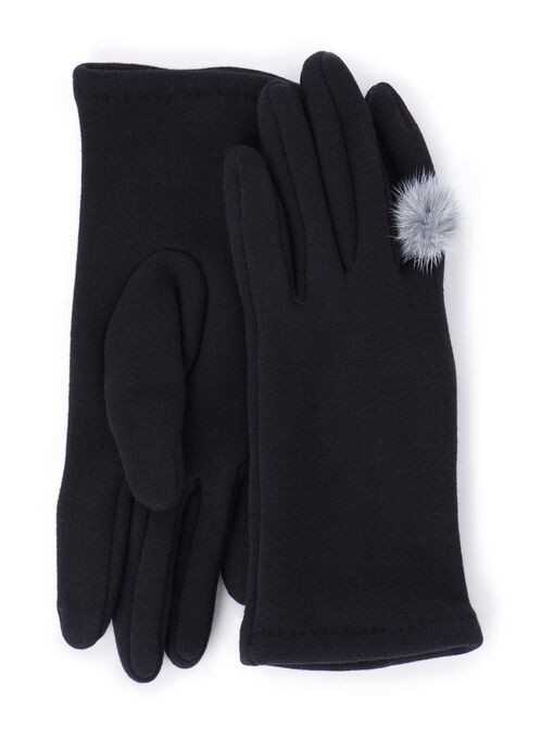 Knit Pompom Gloves, Black, hi-res