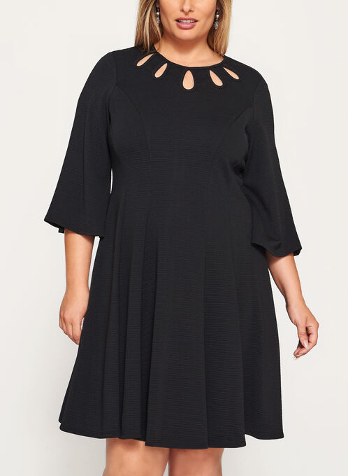 Teardrop Detail Fit & Flare Dress, Black, hi-res