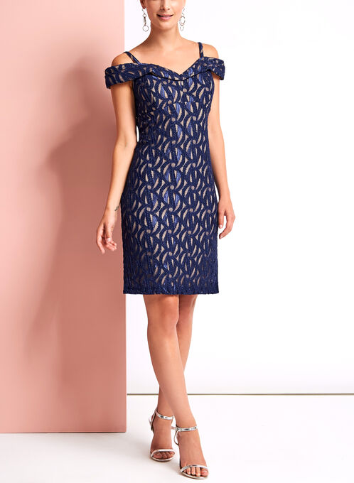 Off The Shoulder Glitter Lace Dress, Blue, hi-res
