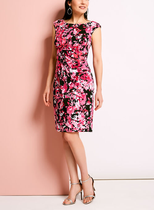 Floral Print Faux Wrap Jersey Dress, Red, hi-res