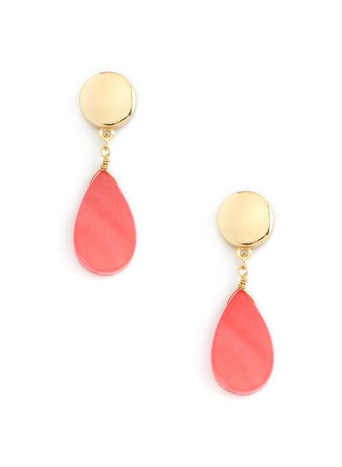 Teardrop Shell Drop Earrings, Orange, hi-res