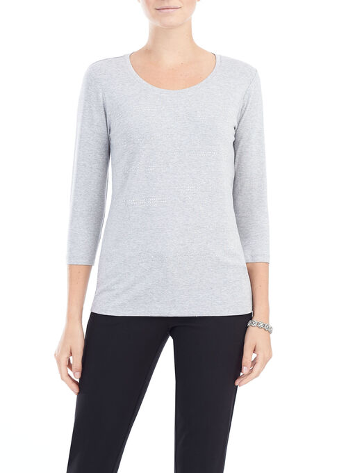 3/4 Sleeve Stud Trim Top, Grey, hi-res