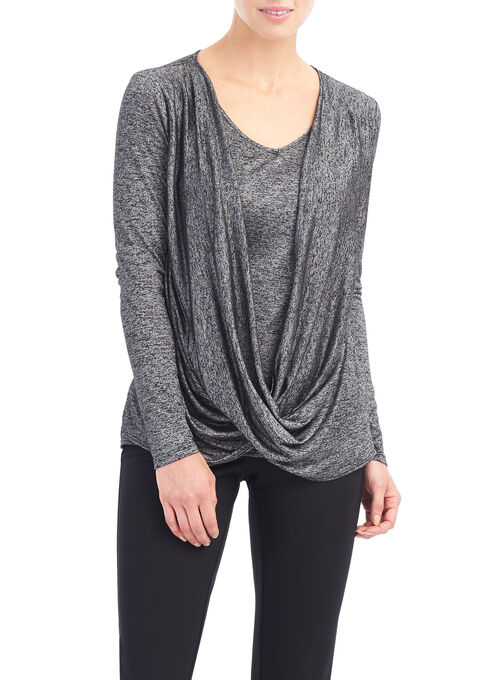 Melange Knit Twist Top, Black, hi-res