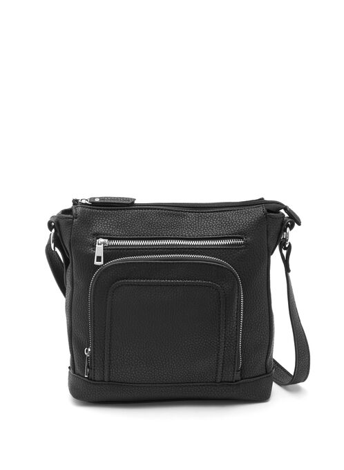 Zipper Trim Crossbody Purse, Black, hi-res