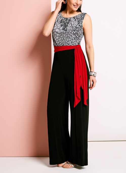 Paisley Print Jersey Jumpsuit, Black, hi-res
