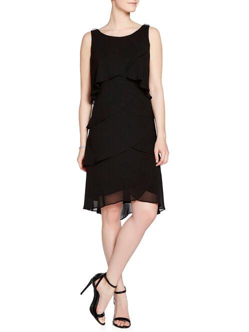 Rhinestone & Metal Detail Tiered Dress, Black, hi-res