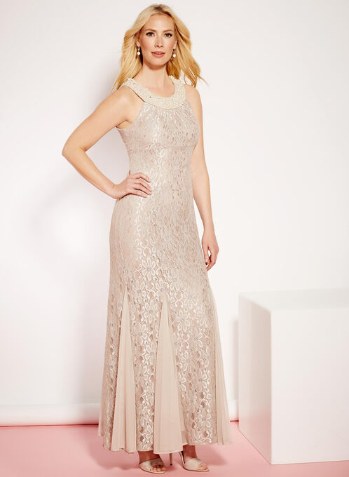 Glitter Lace & Pearl Mermaid Dress, Off White, hi-res
