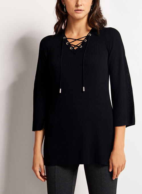 Double Knit Lace Up Tunic Sweater, Black, hi-res