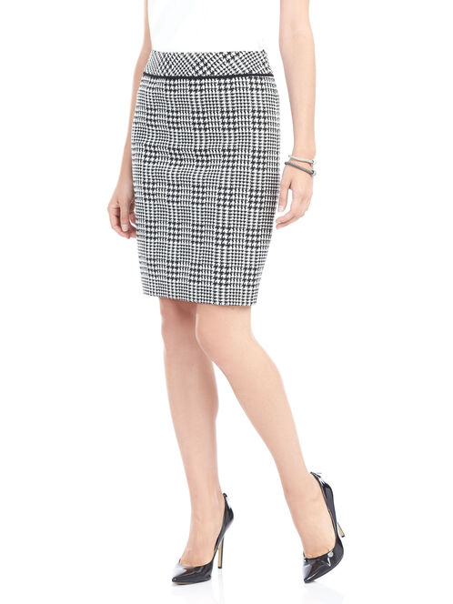 Short Houndstooth Pencil Skirt, Black, hi-res