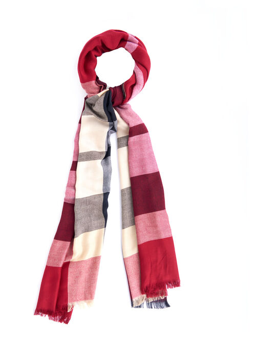 Plaid Print Pashmina Scarf, Red, hi-res